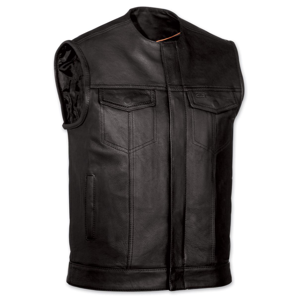 menu0027s collarless mc black leather vest ... vsixtoj