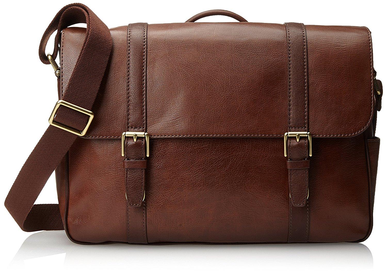 mens bag amazon.com: fossil menu0027s estate saffiano leather east-west messenger bag,  cognac: shoes tdbnist
