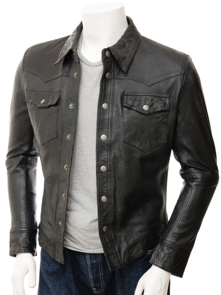 mens black leather shirt: beaworthy front uibiovm