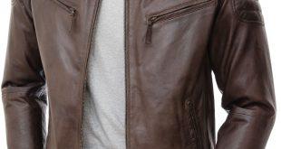 mens brown biker leather jacket: maikop front jbdaogj