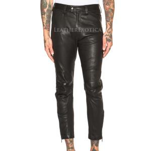mens leather pants ankle length men leather trouser auujoru