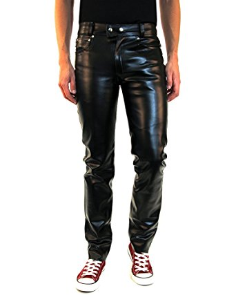mens leather pants bockle® new york men faux leather pants trouser jeans slim fit, size: w30 aphqxar