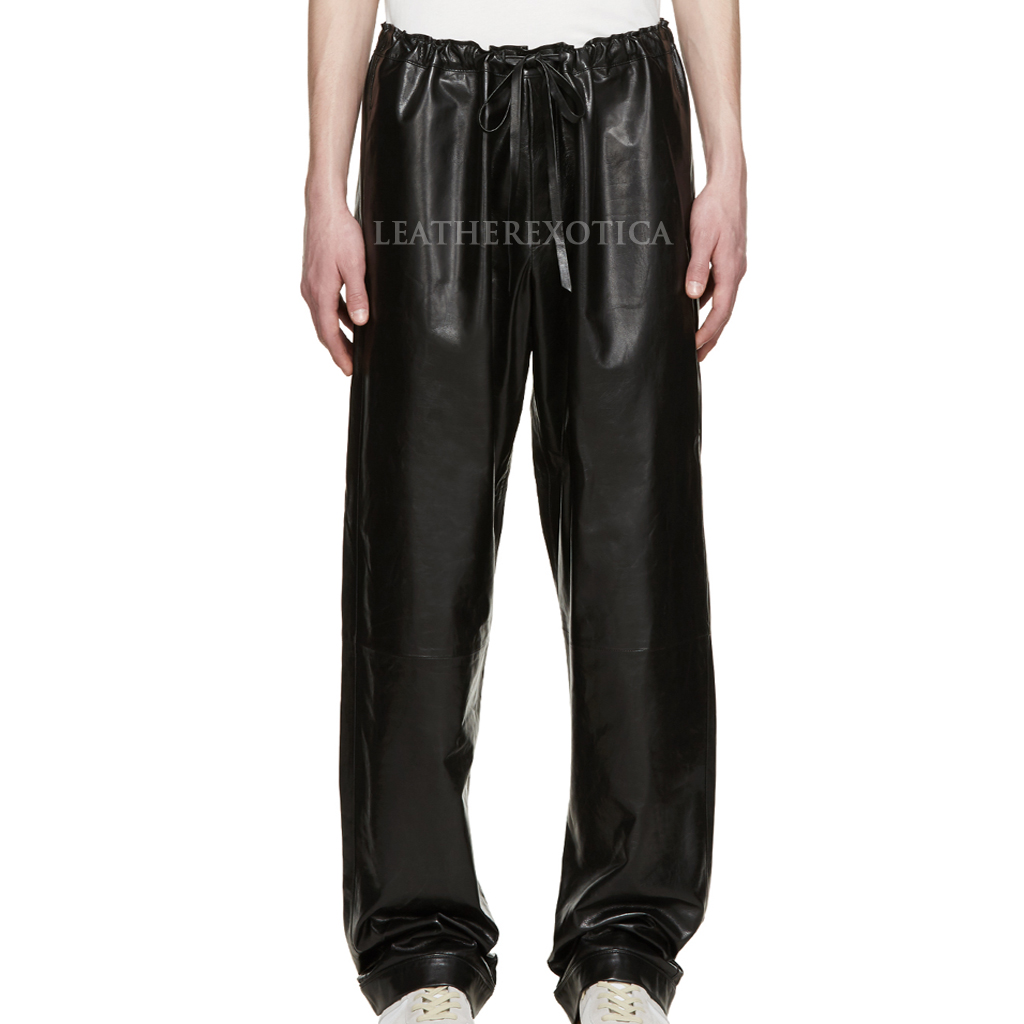 mens leather pants drawstring waistband leather pants for men vabsbnq