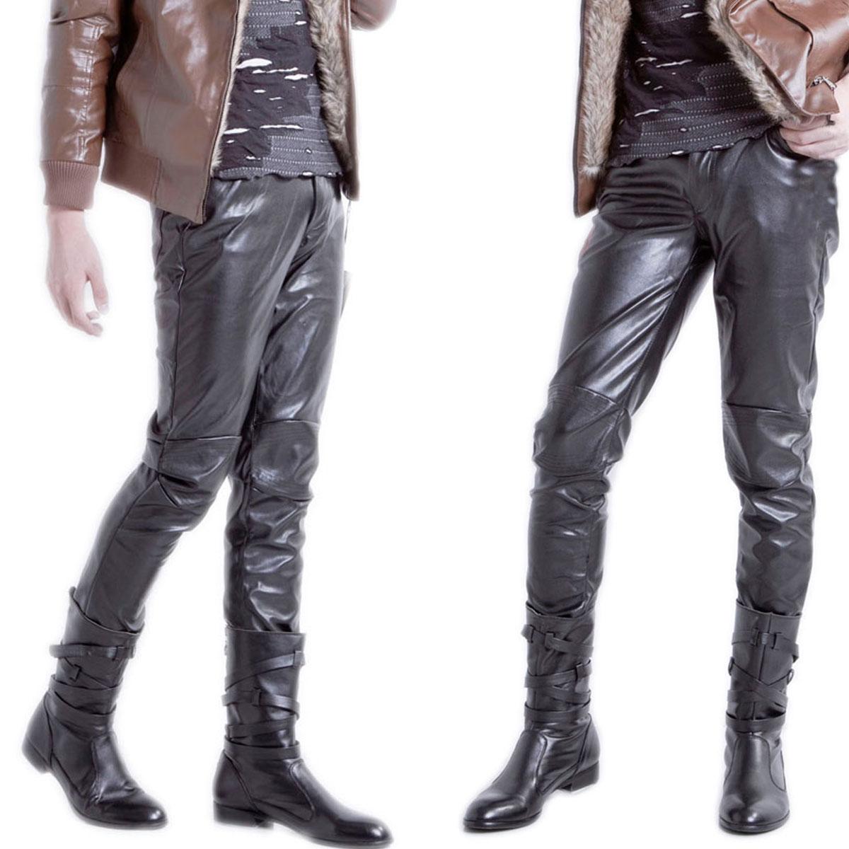 mens leather pants image is loading men-039-s-black-motorcycle-casual-leather-pants- kfcwuph
