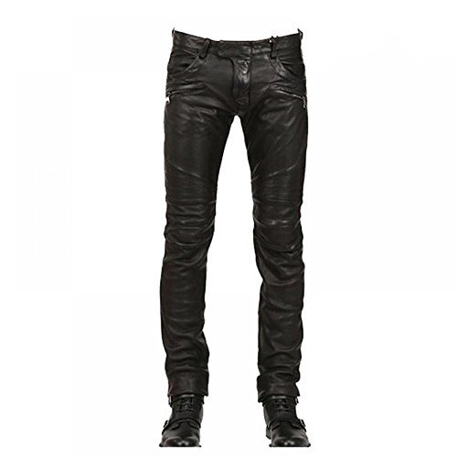 mens leather pants krralinlin mens skinny slim fit black motorcycle pu leather pants with  pockets ylobmaq