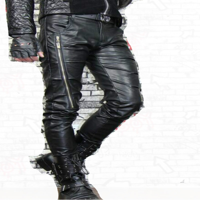 mens leather pants white red motorcycle fashion faux leather pants for men personality tight  mens wrplsef