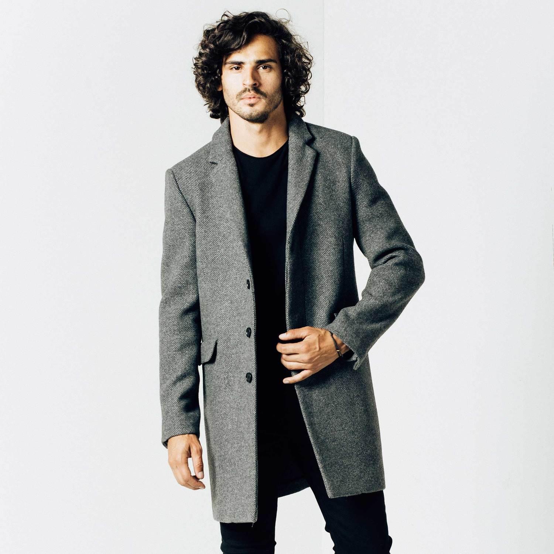 mens long wool coat in grey dhblgiv