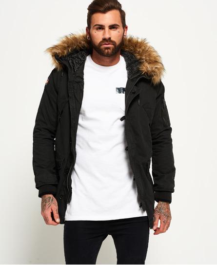 mens parka superdry rookie heavy weather parka jacket black qlrwviu
