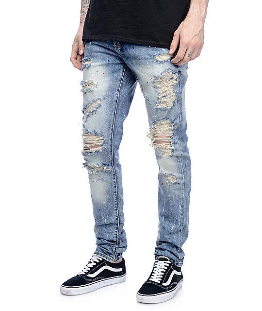mens ripped jeans crysp denim bobby ink splatter ripped jeans ... xaijbfq