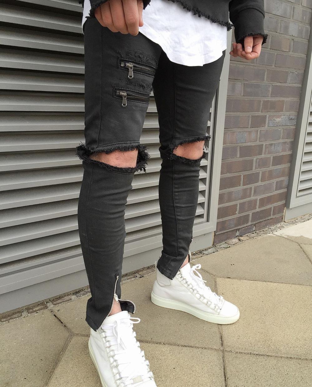 mens ripped jeans wholesale- 2017 men ripped jeans pants zipper design jean destroyed big  male cuqkzcm