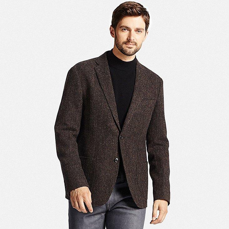 mens tweed jacket men tweed jacket, dark brown, large mowprmv