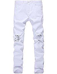 mens white jeans menu0027s slim fit black stretch destroyed ripped skinny denim jeans mgxanqr