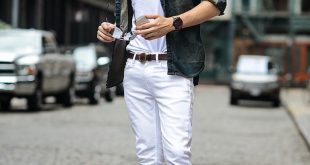 mens white jeans mens street style green jacket white t-shirt white jeans brown brogues lxvderg