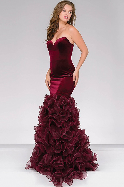 mermaid prom dresses jovani - velvet mermaid prom dress 46609 in red bebyhzg