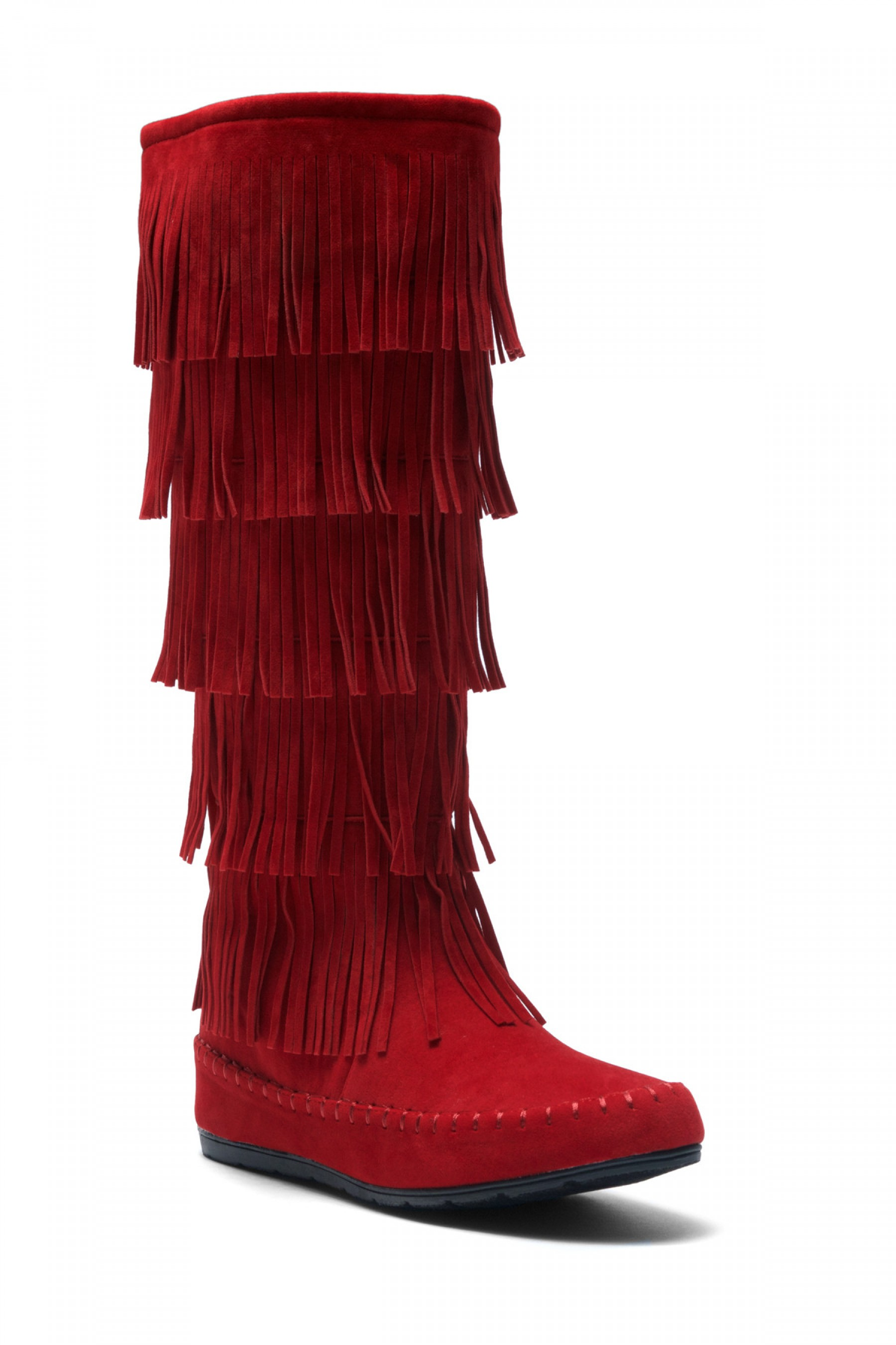 moccasin boots womenu0027s burgundy maddyyee faux suede knee high fringed five-layer moccasin  boots sdudgrc
