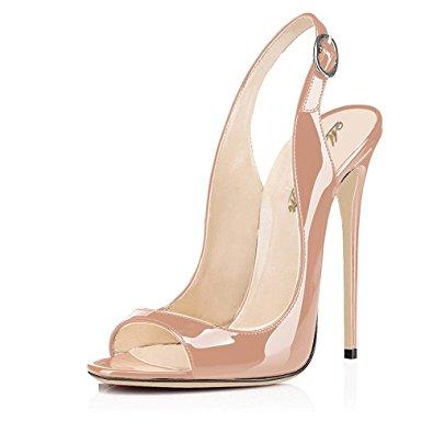 modemoven womenu0027s beige patent leather pumps,peep toe heels,slingback  sandals,evening shoes rymgkll