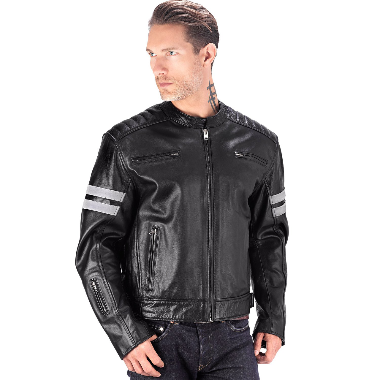 motorcycle jackets viking cycle bloodaxe leather motorcycle jacket for men front view ... njtwmqy