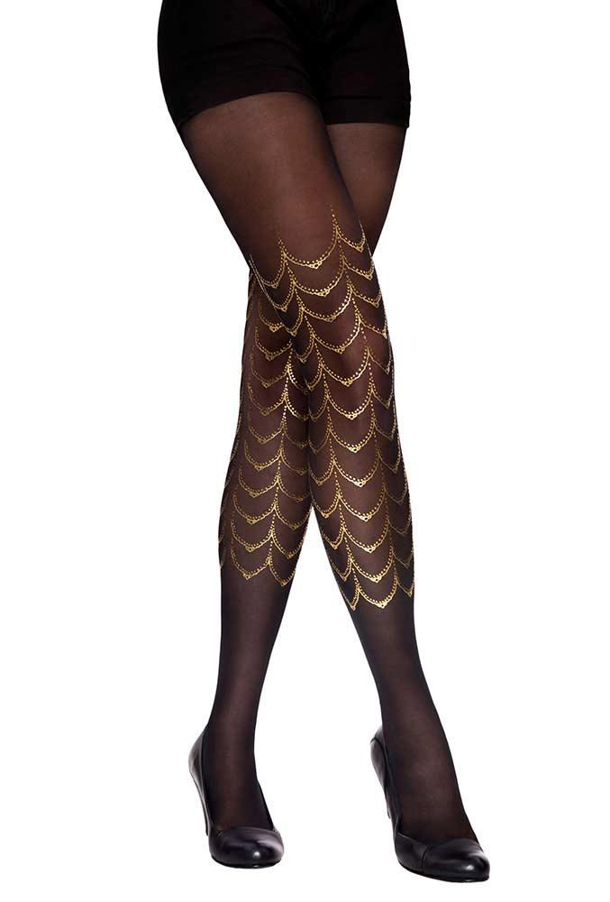 moulin rouge print patterned tights black u0026 gold xoqgdsh