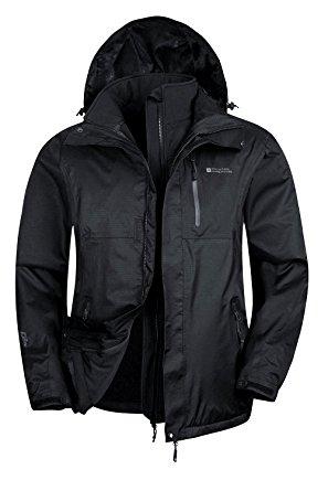 mountain warehouse bracken extreme 3 in 1 menu0027s waterproof jacket black  x-small taifxku