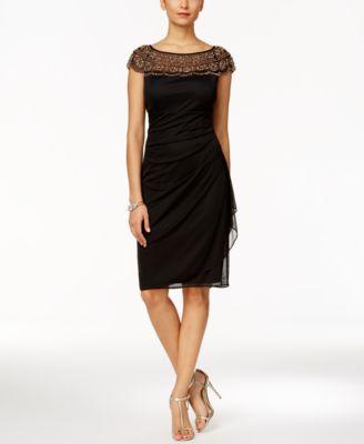 msk beaded ruched sheath dress ivlvekt