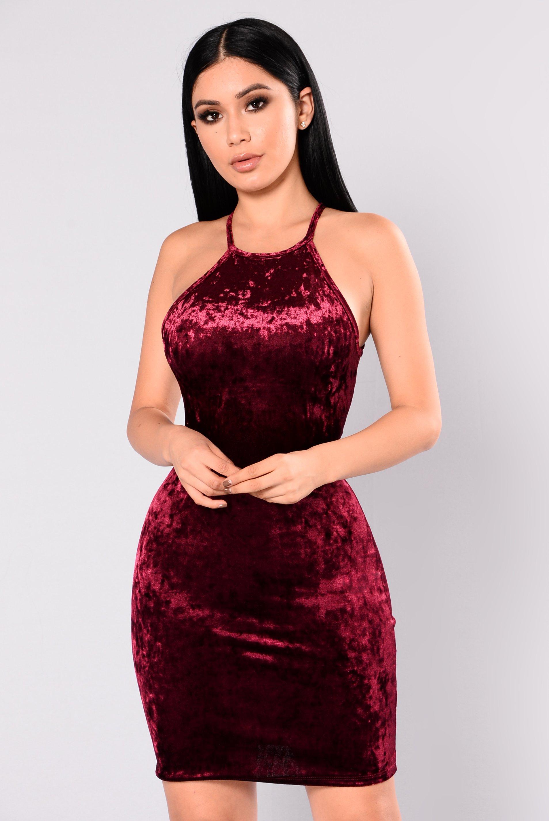 myla velvet dress - burgundy ijjrkhk