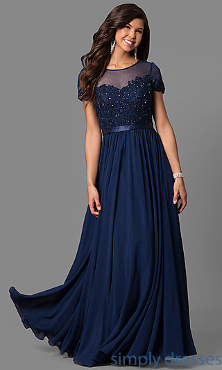 navy blue dress short-sleeve long prom dress with sequined lace . sjuymvo