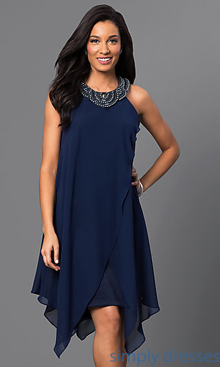 navy dresses navy-blue sleeveless handkerchief dress . fsedzle
