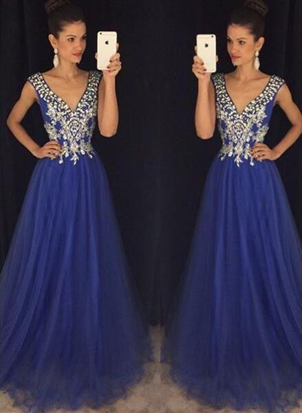 new arrival royal blue prom dresses,v neck a line prom dress,rhinestones  long hwkwbdn