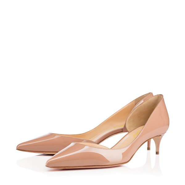 nude kitten heels dress shoes pointy toe patent leather dorsay pumps image xeuimai