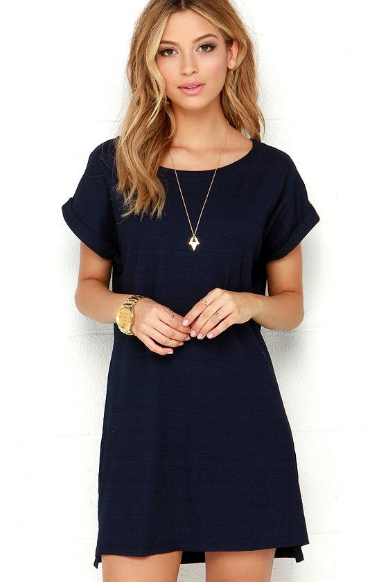 obey tatum dress - navy blue dres - shirt dress - t-shirt dress tasqvpc