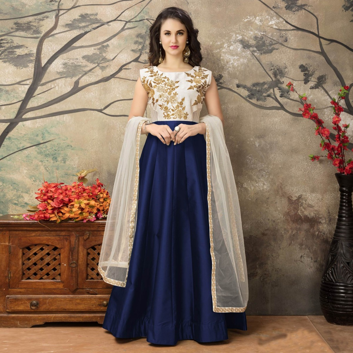 off white - navy blue party wear gown prqohoh
