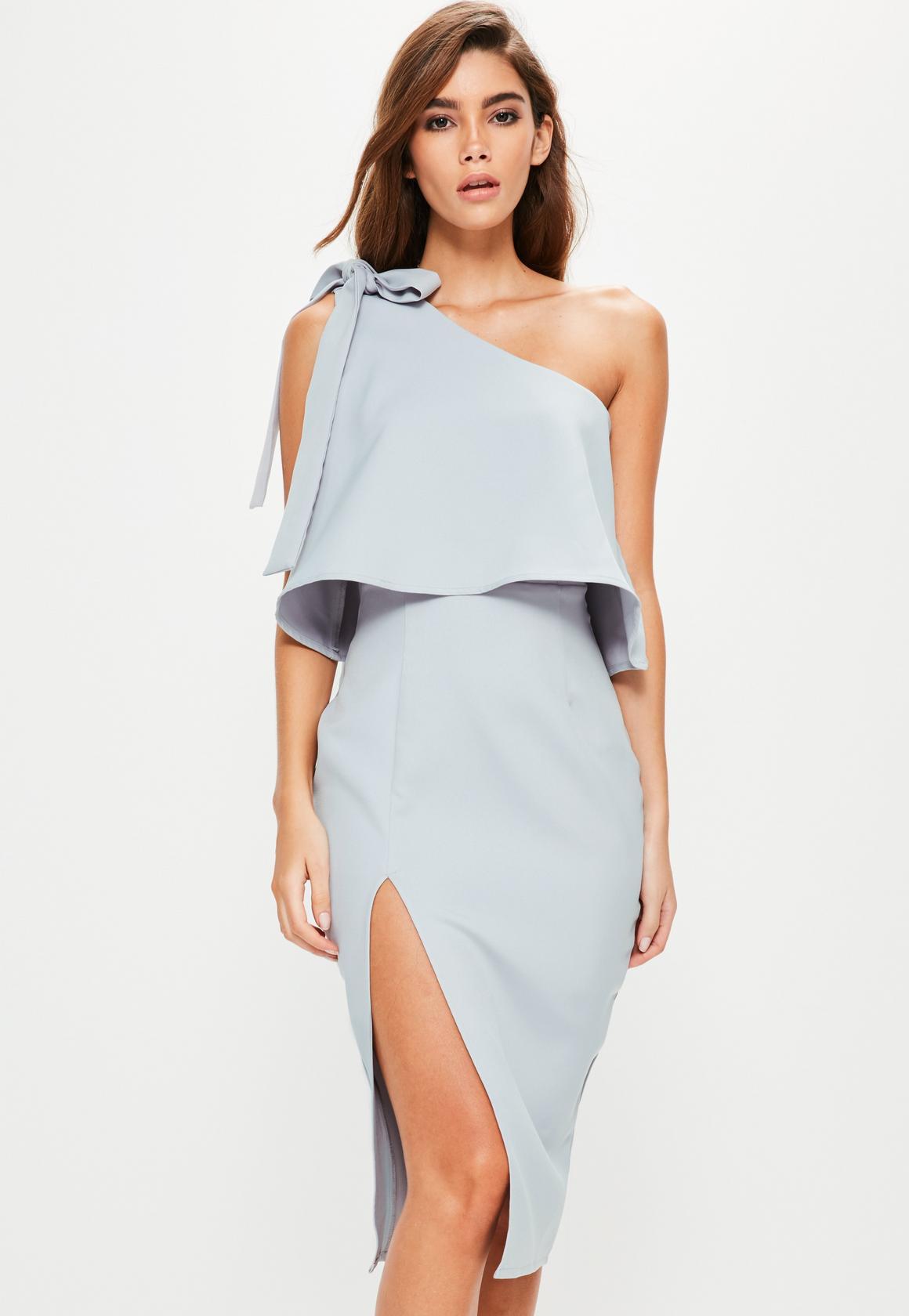 one shoulder dresses grey crepe one shoulder bow sleeve midi dress xsqrpzm