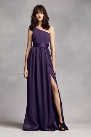 one shoulder dresses long purple soft u0026 flowy white by vera wang bridesmaid dress kifefzj