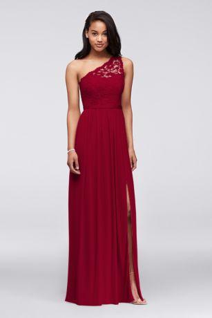 one shoulder dresses long red soft u0026 flowy davidu0027s bridal bridesmaid dress ofvaied