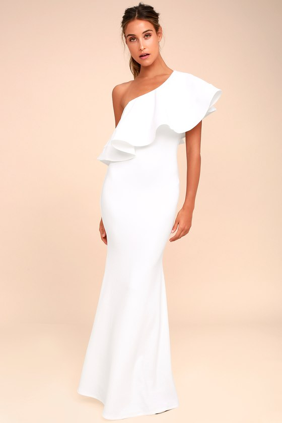 one shoulder dresses so amazed white strapless maxi dress 1. so amazed white one-shoulder ... mjioggb