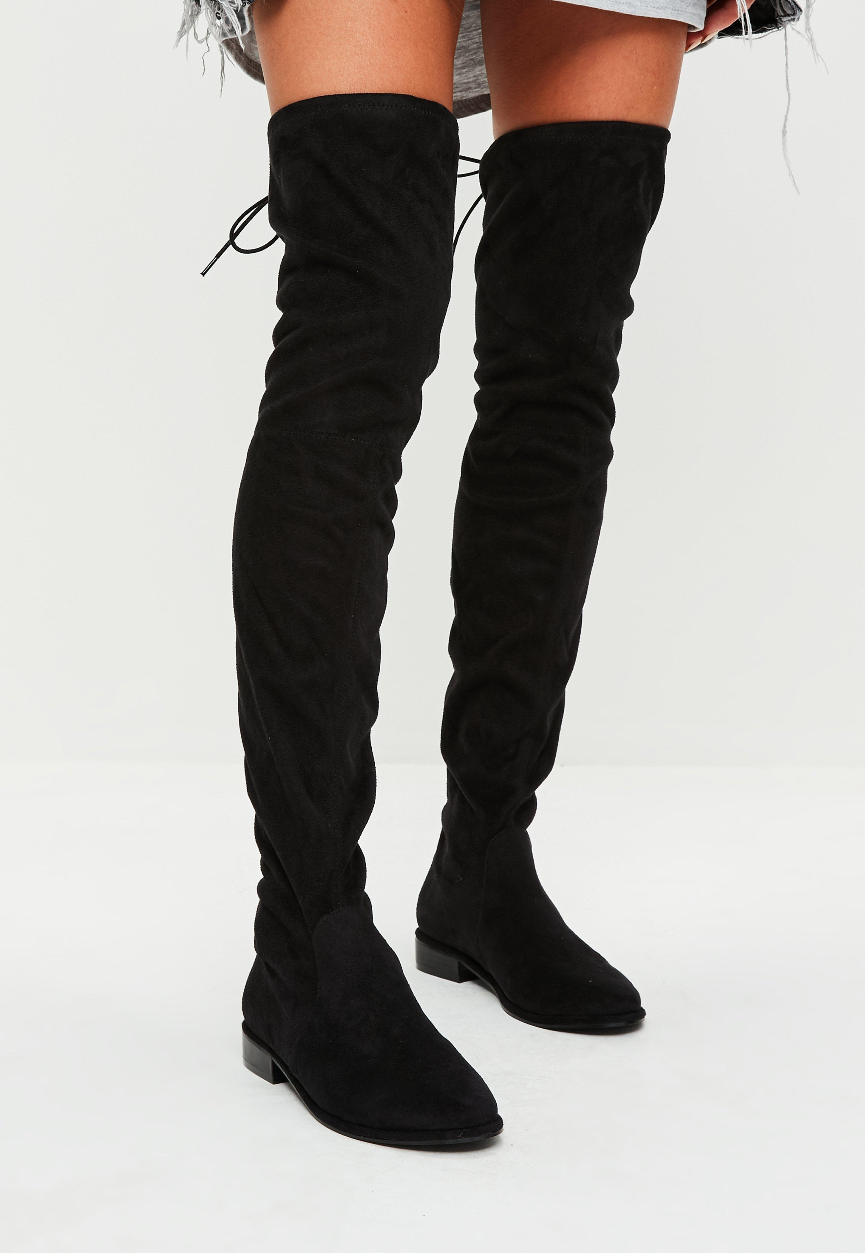over knee boots black over the knee boots   missguided fwffksd