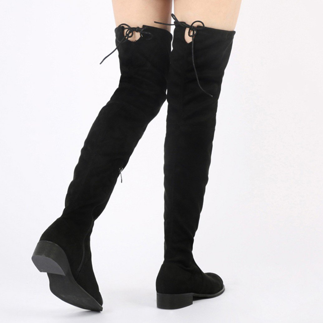 over knee boots joy over the knee boots in black faux suede bswutai