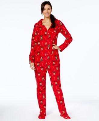 pajamas for women family pajamas womenu0027s reindeer-printed hooded and footed pajamas, created  for macyu0027s ommyciv