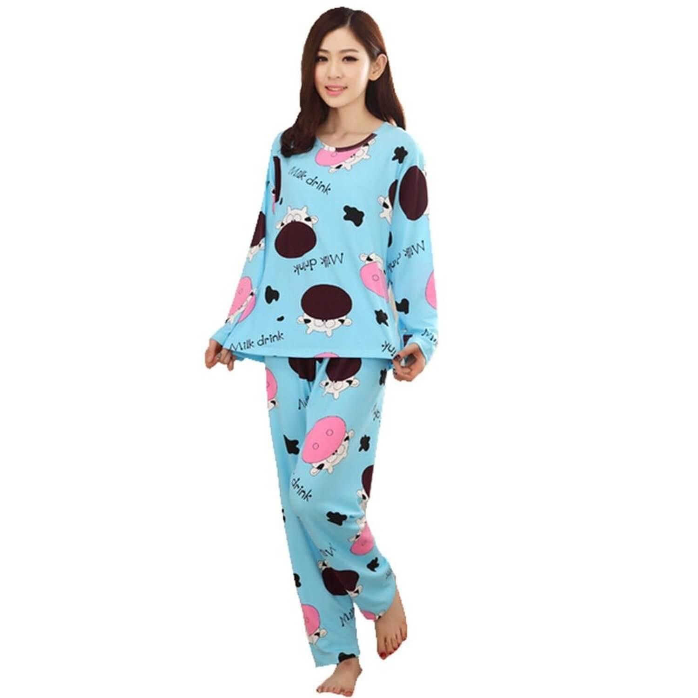 pajamas for women milk cow women long sleeve pajamas nykrytg eokbpws