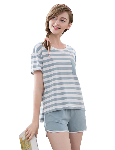 pajamas for women summer pajamas women cotton striped short sleeve pyjamas modal sleepwear  women night owhjecx