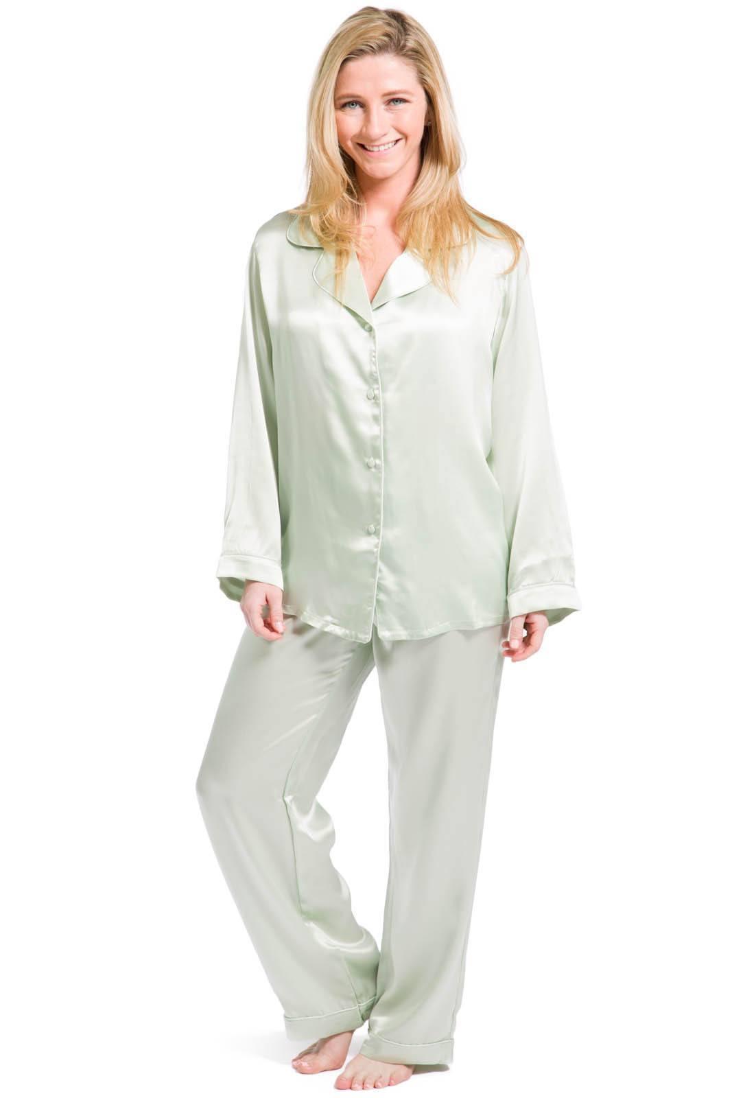 pajamas for women womensu003esleep and loungeu003epajamas - womenu0027s 100% mulberry silk classic full  length hkqouxj