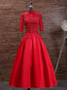 party gowns ericdress half sleeve high neck applique tea length evening dress with  beadings znrxsjj
