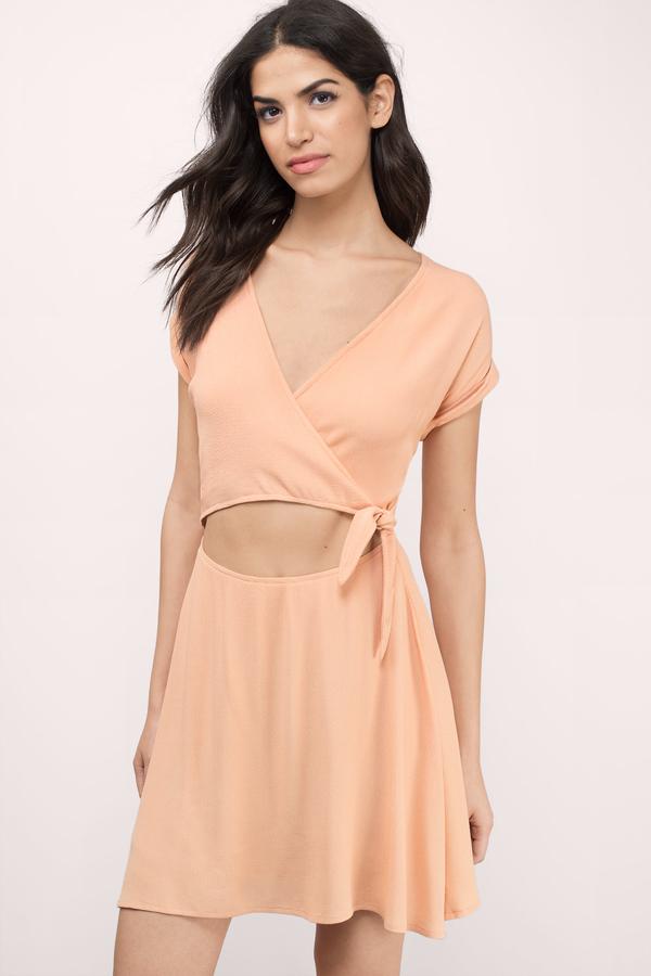 peach dresses cute black wrap dress - plunging dress - black dress - wrap dress sfoomyl