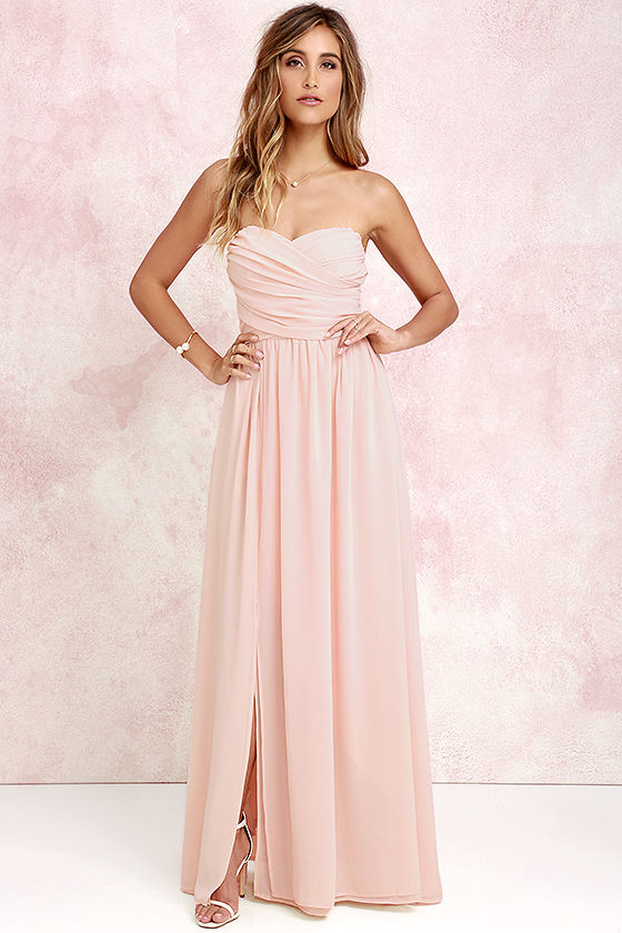 peach dresses lovely peach gown - strapless dress - maxi dress - $82.00 hljnlle