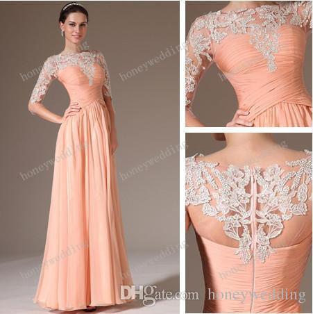peach dresses new arrival bridesmaid dresses chiffon lace peach sheath color half sleeve  evening aforiff