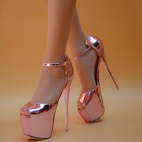 peep toe heels womenu0027s pink stripper heels super stiletto heel ankle strap sandals image  ... kcxzdef