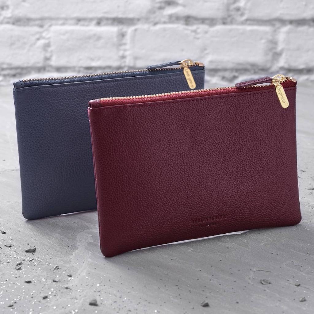 personalised leather clutch bag or cosmetic purse xrqyuvp