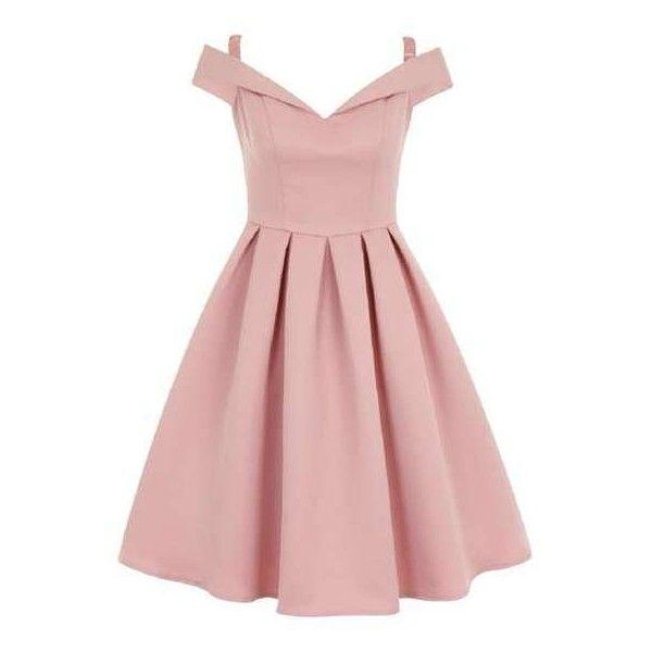 pink dress *chi chi london pink fold over bardot midi dress ($91) ❤ liked on ecjfcgi