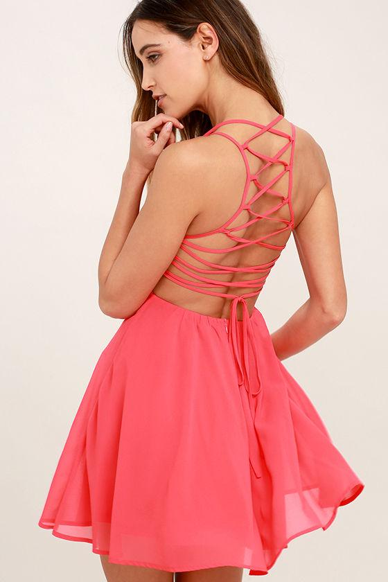pink dress good deeds coral pink lace-up dress 1 emxqvni