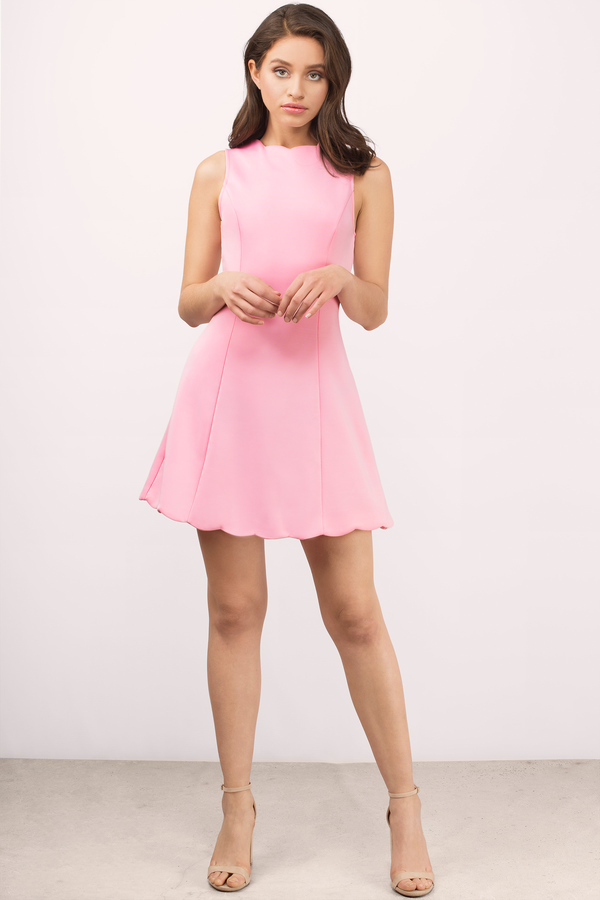 pink dress ... kennedy pink neoprene scalloped dress fvydire